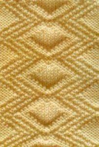 Diamond Relief Free Stitch Knitting Pattern