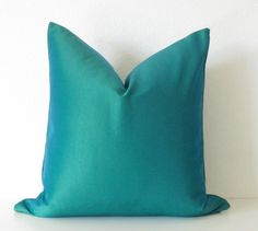 Teal+Decorative+Pillows | Decorative pillow cover - 18x18 - Peacock Teal - Teal - Throw pillow ...