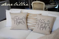 Burlap pillows drawn with Sharpie markers -- clever!