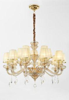 Ou French glass low-key costly nobility droplight【最灯饰】欧式法式玻璃低调奢华金色吊灯