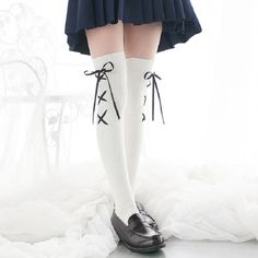 [leggycozy] Japanese Kawaii Anime Lace-Up Cross Ribbon Over Knee Stock Kawaii Anime, Stockings, Lace Up, Japanese, Fashion Plates, Socks, Japanese Language, Pantyhose Legs, Hosiery