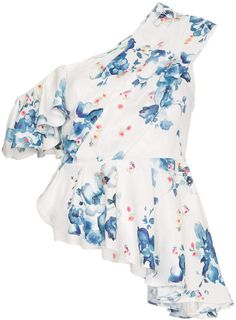 2ccd8dc3d089 Off-White x Browns floral print off-shoulder asymmetric ruffle top