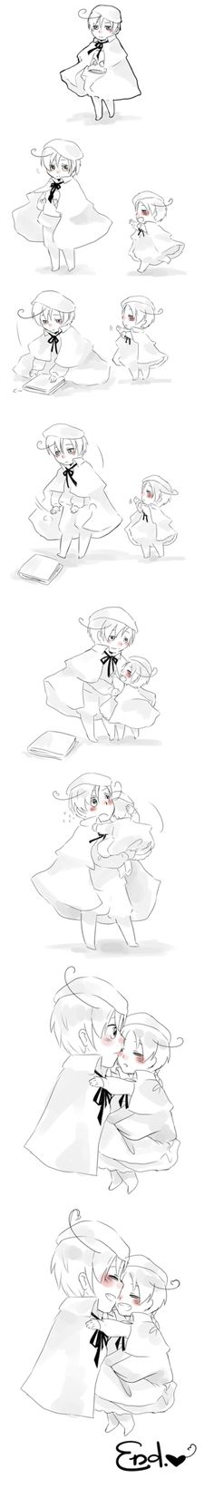 Hold me, Fratello by Houdidoo.deviantart.com on @deviantART - Little Lovino and an even littler Feliciano - this is so sweet!