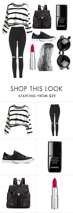 """""""airport fashion #1"""" by yixingunicorn ❤ liked on Polyvore featuring beauty, Topshop, Converse, le top, Proenza Schouler and Givenchy"""