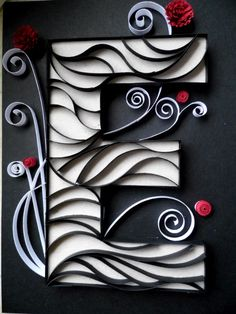Paper Quilled Initial E - Wall Decor - 8X10. $30.00, via Etsy.