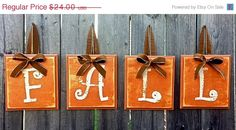 Save 15% Now :) FALL Decor - Hanging Wooden Alphabet Block Sign with Ribbon Thanksgiving Halloween on Etsy, $20.40