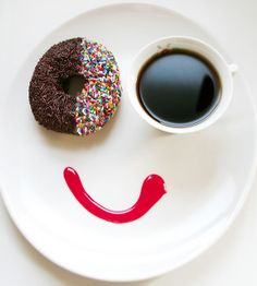 #Humorous #Food #Photography by Vanessa Dualib #coffee #doughnut #smiley #morning