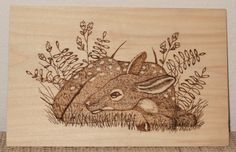Woodburned Fawn Deer Wall Plaque on Basswood by SpoiledFelinesArt