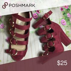 Burgundy faux suede buckle heel sandal var sz Burgundy buckle faux suede heels various sizes. Super cute and comfy. Shoes Heels