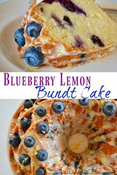 Moist and delicious Blueberry Lemon Bundt Cake with a Honey Lemon Glaze and garnished with blueberries and lemon zest. Baked in a regular bundt cake pan or a special Jubilee pan, this is the perfect brunch dessert or great for entertaining during the spring and summer months. #blueberrylemon #bundtcake