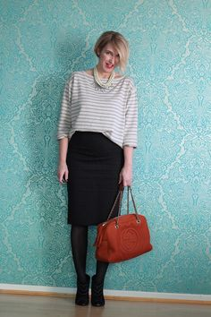 Pencil skirt with boots and striped shirt