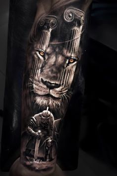 Warrior Tattoo Sleeve, Animal Sleeve Tattoo, Lion Tattoo Sleeves, Armor Tattoo, Warrior Tattoos, Best Sleeve Tattoos, Tattoo Sleeve Designs, Tattoo Designs Men, Angel Warrior Tattoo