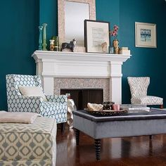This color would be a nice pop but not one I would want everywhere White Fireplace, Fireplace Mantle, Teal Living Rooms, Home Goods Store, Home Reno, Next At Home, Home Decor Styles, House Colors, Entryway Tables