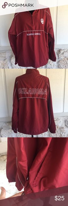 "OU pullover lightweight jacket Oklahoma Sooners lightweight pullover jacket. Very relaxed fit, size says M but easily fits a Large with room to spare. Drawstring at waist to cinch up if desired and two pockets on the front. EUC Measurements bust armpit to armpit laying flat 24"" length measured shoulder to hem 28"" ✅I ship same or next day ✅Bundle for discount Red Oak Jackets & Coats"
