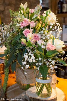 Beautiful 'natural' wedding table designs by The Wilde Bunch at Priston Mill. Bright, summery and befitting of the old stone barn and surrounding gardens Rehearsal Dinner Decorations, Rehearsal Dinners, Stone Barns, Old Stone, Wedding Table, Wedding Flowers, Table Decorations, Table Designs, Beautiful
