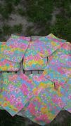 60'S LILLY PULITZER COCKTAIL TRAY AND NAPKINS SET VINTAGE12-PIECE SET MOD NEON