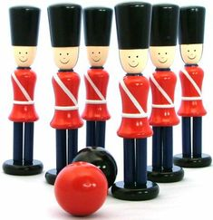 PURCHASED - Mywoodentoys.com.au Buy in oz - Bowling Soldiers Wooden Skittle Game
