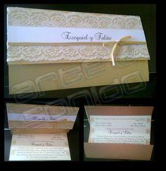#invitacionesboda #tarjetasboda TARJETA CON ENCAJE - #tarjetasboda  -CONSULTAS AL 0992 295 321 - ´http://www.facebook.com/ARTEySONIDO