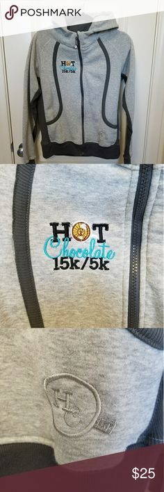 Hot Chocolate 15k/5k Zip-Up Hoodie! Suuuper warm and soft hoodie!! Has slight funnel neck, pockets and thumb holes! Only worn and washed once on race day, in excellent condition! Running Man Sweaters