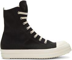 Rick Owens Drkshdw Black Nylon High-Top Sneakers