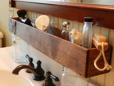 Made to order- Extended length wood storage caddy image 0 Bathroom Storage Shelves, Wood Storage, Over Toilet Storage, Pedestal Sink Storage, Bathroom Caddy, Storage Caddy, Storage Ideas, Diy Storage, Storage Solutions