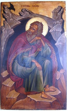 Agiography,Profitis Hlias,by Konstantinos Kountouris  Style:tempera with leaves of gold  Size:55x34