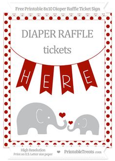 Free Turkey Red Dotted  Elephant 8x10 Diaper Raffle Ticket Sign
