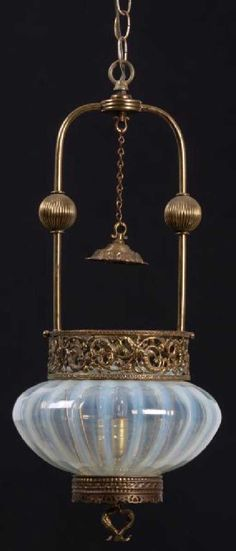 Lot: Opalescent & Brass Hall Lamp, Lot Number: 0141, Starting Bid: $200, Auctioneer: Fontaine's Auction Gallery, Auction: Antique & Fine Art Auction, Date: March 24th, 2018 EDT