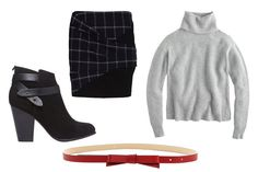 Skirt + boots + sweater + belt = perfect 5-minute outfit idea