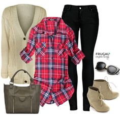Frugal Fashion Friday Flannel Outfit - Flannel Top, Black Jeans, Lace Wedge Booties, White Cardgian and Gray Handbag on Frugal Coupon Living.