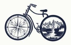Symbol of travel, tourism, adventure. Compass and mountains … Bicycle tattoo art. Symbol of travel, tourism, adventure. Compass and mountains in bicycle wheels t-shirt design Cycling Tattoo, Bicycle Tattoo, Bike Tattoos, Bicycle Art, Cycling Art, Cool Tattoos, Urban Cycling, Bicycle Wheel, Indoor Cycling