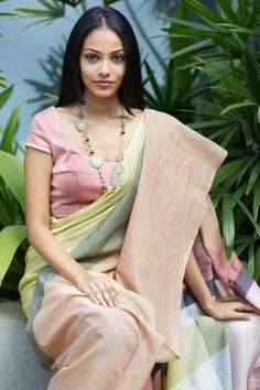 This is a soft and light weight saree with soft pastel shades, ideal for a day occasion,