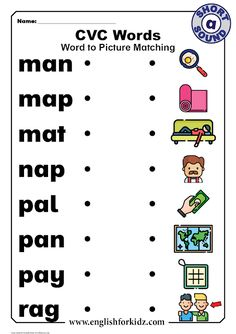 English for Kids Step by Step: CVC Words Worksheets: Short A Sound English Worksheets For Kindergarten, Phonics Worksheets, Short A Worksheets, Subtraction Worksheets, Reading Worksheets, Cvc Words, Three Letter Words, English Phonics, Reading Comprehension