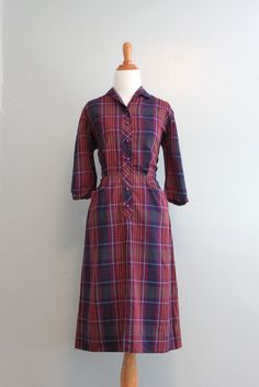 Reserved...Vintage 50s Dress / 1950s Purple Plaid Day Dress / 50s Fitted Dress. $58.00, via Etsy.