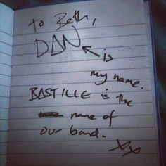 Dan Smith of Bastille's handwriting
