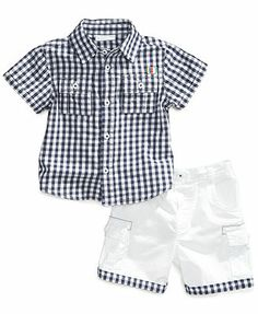 First Impressions Baby Boys' 2-Piece Shirt & Shorts Set