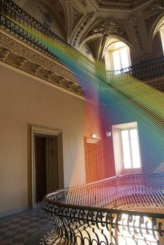 First look: Gabriel Dawe's stunning new thread art in Italy. Gabriel Dawe created Plexis no. a stunning thread installation thats beautifully spread across two balconies in the atrium of a. String Installation, Interactive Installation, Artistic Installation, Art Installations, Land Art, Thread Art, Rainbow Art, Expositions, Light Art