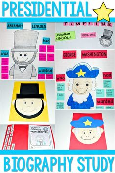 Presidents Day Biography Study Lesson Plans! Students will love learning about informational text features as they read and write about President George Washington and President Abraham Lincoln. Close reading questions for deep comprehension, anchor charts, timelines, sentence study, and President's Day Craft too!