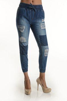 Hott Denim Dark Wash Destroyed Jogger Patched Jeans! Plus Size! #UASpringSummerCollection2015 #Jogger