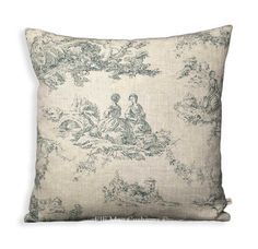 Cabbages and Roses Toile de Poulet Fabric Blue Designer Cushion Sofa Throw Pillow Cover