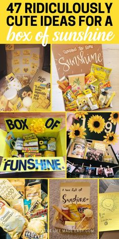 Diy Birthday Gifts Discover 47 Box of Sunshine Ideas That Positively Radiate Happiness Thinking about sending a sunshine box but not sure where to start? Get inspired by these incredibly thoughtful and fun ideas so you can spread a little happiness today! Diy Gifts For Girlfriend, Diy Gifts For Friends, Birthday Gifts For Best Friend, Boyfriend Gifts, Diy Birthday Gifts For Friends, Cheer Up Gifts, Box Of Sunshine, Cute Birthday Gift, Simple Birthday Gifts