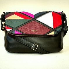 """NEW Fossil Preston Large Flap Patchwork Shoulder Just gorgeous!   Ultra soft pebble leather in multi-color patchwork  will add pizazz to your outings with this large flap crossbody from Fossil.  Featured in multi Crossbody bag with front flap Adjustable crossbody strap with 22"""" drop Front flap closure with double zip around closures Old English brass polished hardware Triangular colorblock pattern on flap Exterior: one front zip pocket Interior: one zip pocket and two media pockets 11"""" x 4""""…"""