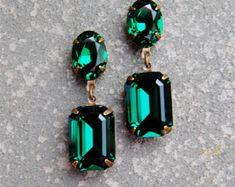 Emerald Green Earrings Swarovski Crystal Rhinestone