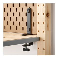 IKEA - SKÅDIS, Connector, gray, Can be used to attach SKÅDIS pegboard to a desk or shelf ‒ so you avoid drilling holes in your walls. Can be used for desks or shelves up to 1 thick. Modular Furniture, Furniture Design, Ikea Family, Drilling Holes, Wall Storage, Paper Storage, Craft Storage, Diy Desk, Activities For Kids
