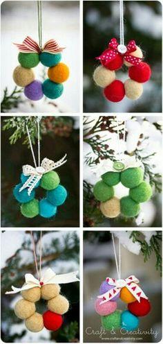 Para mi mini arbolito con micro bolas de algodón #manualidades #Navidad