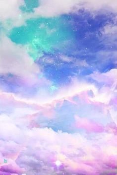 Iphone Wallpaper - art cute kawaii sky design space galaxy pink clouds pastel digital art digital c. Fond Pastel Goth, Ciel Pastel, Pastel Sky, Pastel Galaxy, Pastel Clouds, Colorful Clouds, Blue Clouds, Galaxy Art, Galaxy Colors