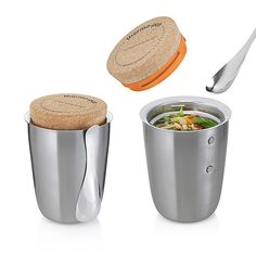 Back in Stock! Thermo Pot by Black+Blum $42.00 | Stainless steel vacuum food flask, cork top (with minimal thread detail) and stainless steel spoon magnet, 6.7H x 4.9W x 4.9D, Holds 17 fluid oz, Gently hand wash, Tight seal prevents any liquid spills, Keeps food hot for 5 hours,
