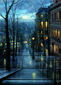 Winter's eve in Montmartre, France.