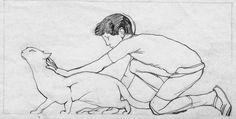 Animalarium: Duilio Cambellotti, Carezzando il gatto (1946)