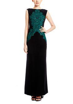On ideel: TADASHI SHOJI Sleeveless Sequin Applique Gown
